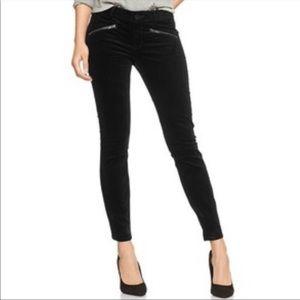 GAP 1969 Always Skinny Black Velvet Zipper Jeans